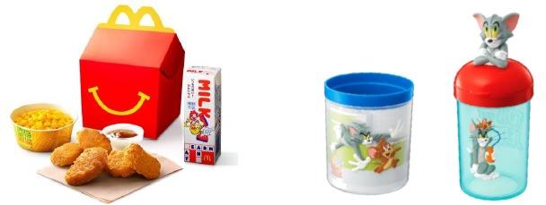 ↑ ハッピーセット(左)と、トムとジェリーのおもちゃ(右)(いずれも一例)