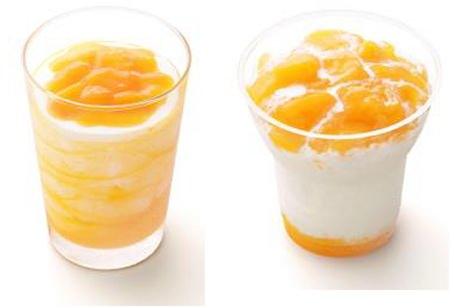 ↑ 左から果肉あじわう マンゴーシェイク、同マンゴー氷