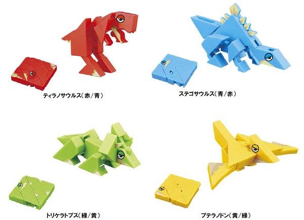 ↑ 各恐竜のパターンと、2D・3D形態