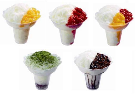 ↑ コットンスノーキャンディ 上段左からマンゴー、ストロベリー、ミックス。下段左から抹茶あずき、チョコクランチ