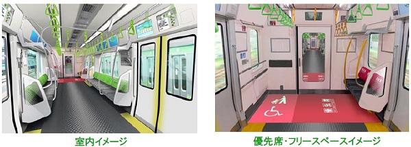 ↑ 室内イメージ(左)と優先席・フリースペースイメージ(右)