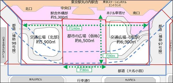 ↑ 整備後の東京駅駅前におけるレイアウト概要