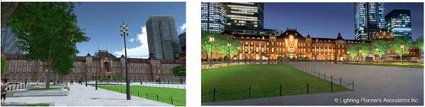 ↑ 都市の広場。左が昼間、右が夜間のイメージ