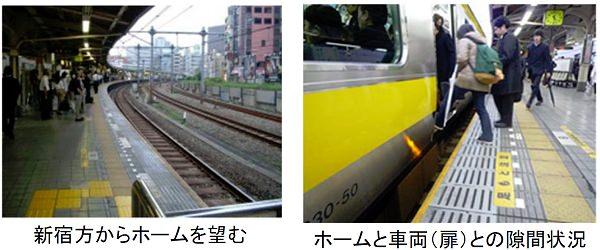 ↑ 中央線飯田橋駅ホームにおける「すき間」の現状