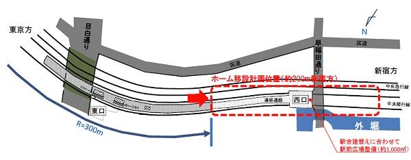 ↑ 上部から見た移設イメージ。現状では急な曲面の部分にホームが設置されているため、どうしてもホームと列車の間にすき間が開いてしまう。今回はホームそのものをずらして線路の直線部分に移し、すき間を通常の駅と同様程度に狭めようとするもの