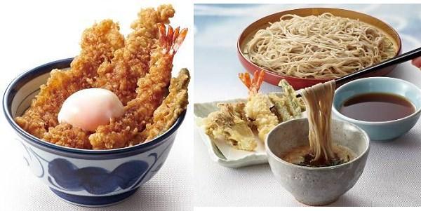 ↑ 左から「大江戸天丼」「とろろ天そば」