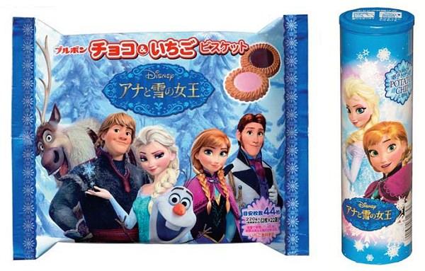↑ 左からチョコ&いちごビスケットFS(アナと雪の女王)、ポテトチップしお味(アナと雪の女王)