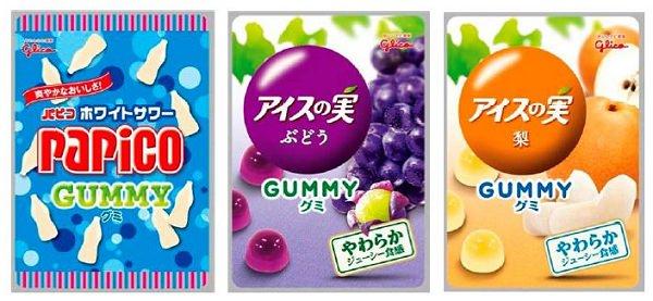 ↑ 左からパピコグミ<ホワイトサマー>、アイスの実グミ<ぶどう>、アイスの実グミ<梨>