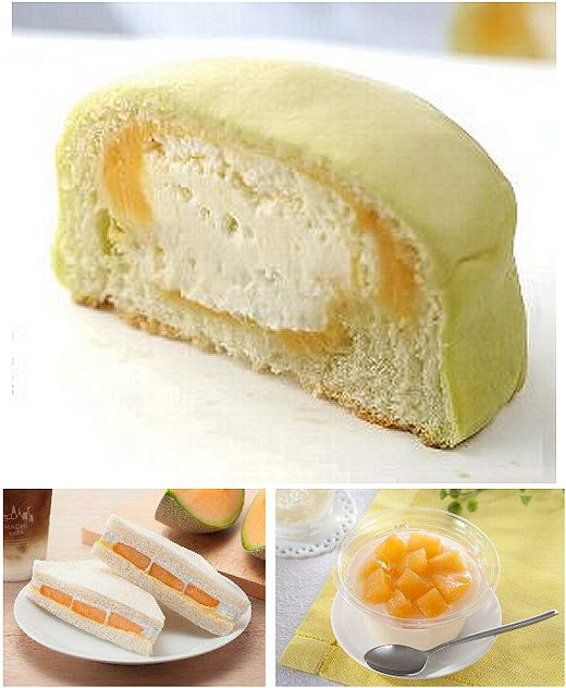 ↑ 上段は「冷して食べるしっとりメロンパン(夕張メロンクリーム)」、下段左から「夕張メロンのサンド」「メロンのとろけるプリン(夕張メロントッピング)」