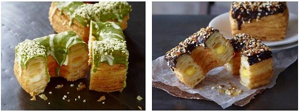 ↑ 左から「クロワッサンドーナツ(宇治抹茶&ミルククリーム)」「同(ビターチョコ&カスタード)」