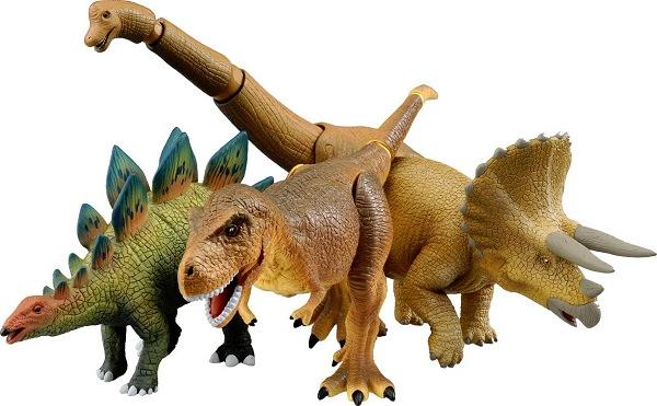 ↑ アニア新商品「ティラノサウルス」「トリケラトプス」「ステゴサウルス」「ブラキオサウルス」