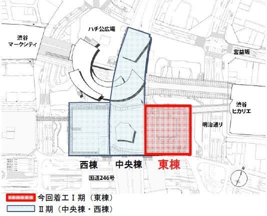 ↑ 渋谷駅街区開発計画・位置図