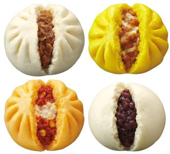 ↑ 上段左から肉まん、CoCo 壱番屋監修チーズカレーまん。下段左からピザ世界チャンピオン監修ピッツァまん、あんまん(北海道産小豆使用)