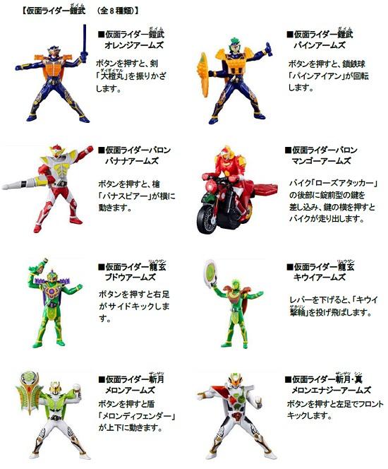 ↑ 仮面ライダー鎧武。全8種類で中身は開けてみるまで分からない