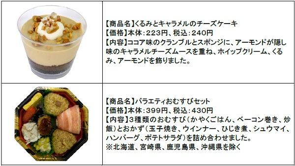 ↑ くるみとキャラメルのチーズケーキ(上)とバラエティおむすびセット(下)