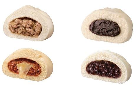 ↑ 上段左から手包み肉まん、十勝こしあんまん(ごま入り)。下段左からのびーるチーズピザまん、北海道つぶあんまん