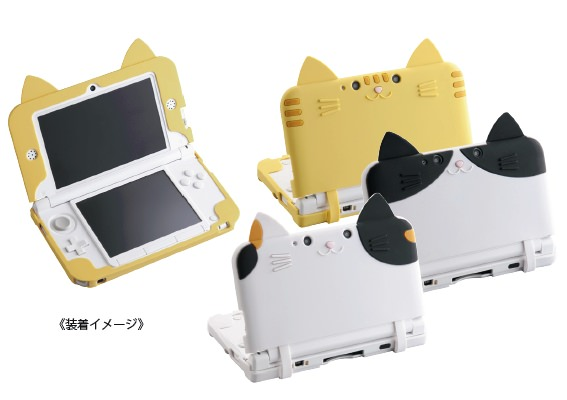 ↑ CYBER・シリコンカバー ねこにゃんDX(3DS LL用)装着状況