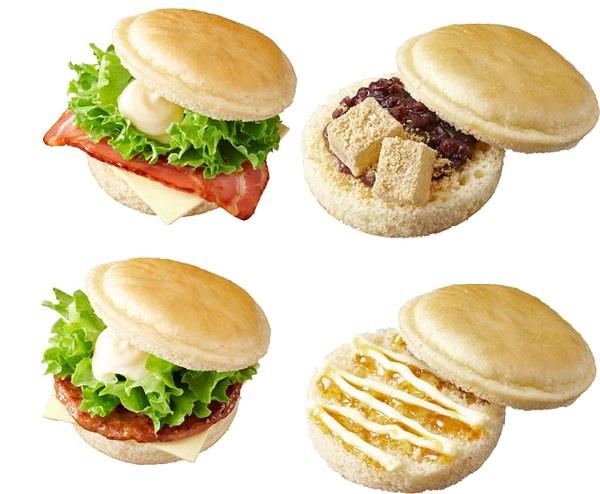 ↑ 上段左からベーコン&チーズサンド(パンケーキ風)、あずき&わらびもちサンド(パンケーキ風)。下段左からソーセージ&チーズサンド(パンケーキ風)、メープル風シロップ&マーガリンサンド(パンケーキ風)