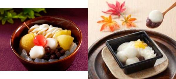↑ 左から「さつま芋餡の秋あんみつ」「クリーム白玉ぜんざい(栗入り)」