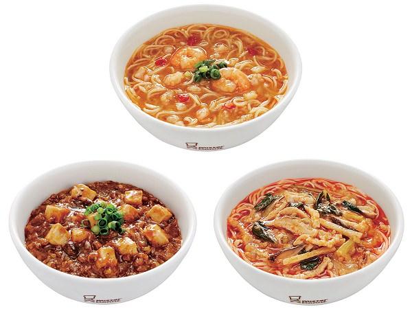 ↑ 上段「海老湯麺(エビタンメン)」、下段左から「麻婆豆腐麺(マーボードウフメン)」「酸辣湯麺(スーラータンメン)」