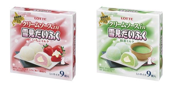 ↑ クリームソースin 雪見だいふく いちごミルク/抹茶ミルク