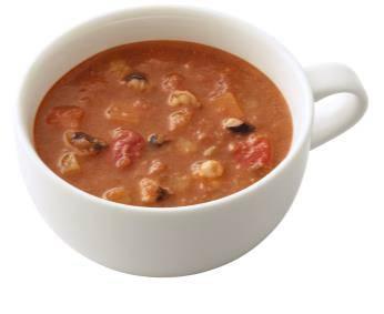 ↑ タコと野菜のトマトクリームスープ