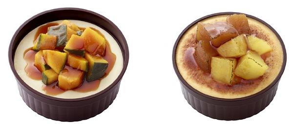 ↑ 左からカップパティシエ かぼちゃのあったかプリン 北海道産かぼちゃ使用/りんごのシブースト 青森県産ふじ使用