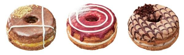 ↑ 左から「Mr.CroissantDonut アップル&カスタードホイップ」「同 チェリー&クリームチーズホイップ」「同 クラッシュマロンホイップ」