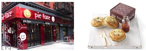 ↑ Pie Face店舗と実商品例