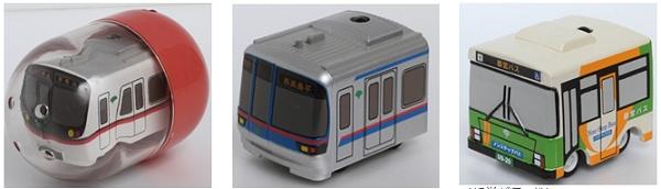 ↑ 左から<都営浅草線5300形><都営三田線6300形><都営バスX代>