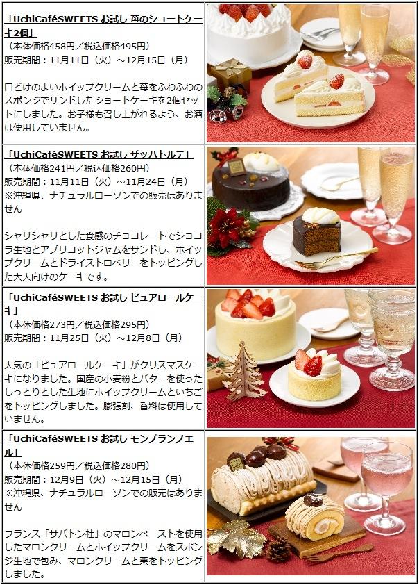 ↑ クリスマスケーキのお試しサイズ4種類