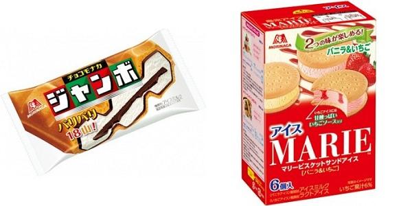 ↑ 左からチョコモナカジャンボ、マリービスケットサンドアイス