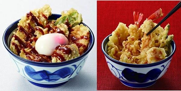 ↑ 国産鶏・野菜天丼(左)とかに・帆立天丼(右)