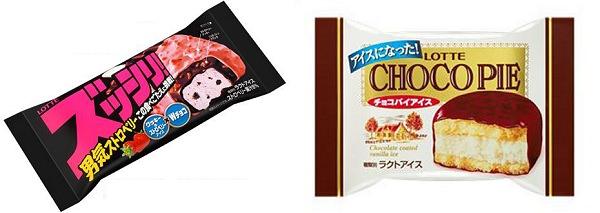 ↑ 「ズッシリ! 男気ストロベリー」と「チョコパイアイス」