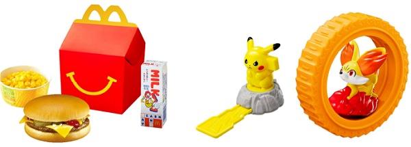 ↑ ハッピーセットのイメージ(左)と今回展開されるポケモンのおもちゃ一例