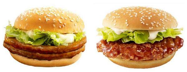 ↑ 「ダブルてりやきマックバーガー」(左)と「てりやきチキンフィレオ」(右)