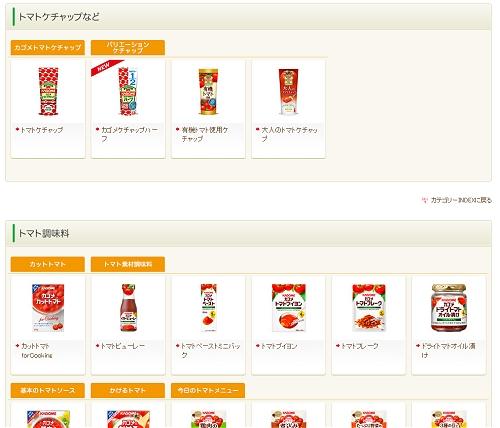 ↑ カゴメの食品ラインアップ。値上げ対象はこのうちの一部