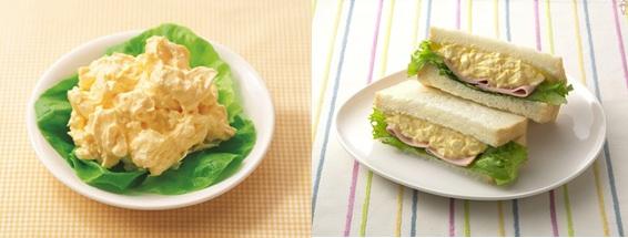 ↑ 調理例。左からタマゴサラダ、つぶしておいしいたまごサンドイッチ