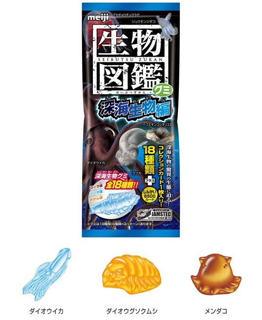 ↑ 生物図鑑グミ 深海生物編パッケージと中身(一例)