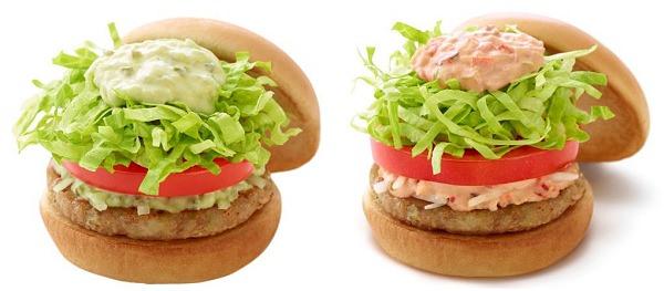 ↑ 左から「ソイ野菜バーガー アボカドソース」「ソイ野菜バーガー オーロラソース」