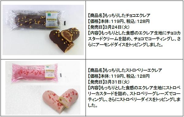↑ もっちりしたチョコエクレアともっちりしたストロベリーエクレア