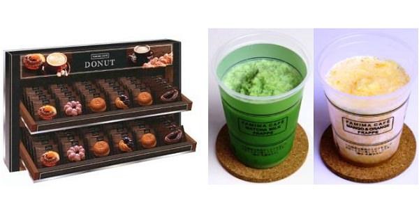 ↑ ドーナツ専用の販売ケース(左)とフラッペメニューの新作抹茶フラッペ・マンゴー&オレンジフラッペ(右)
