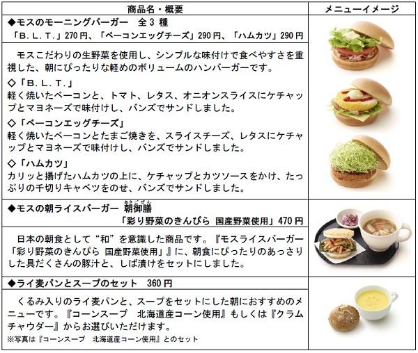 ↑ 「おはよう朝モス」新商品5種類