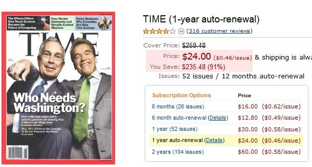 ↑ アマゾンでTime誌の1年間の定期購読料金を確認