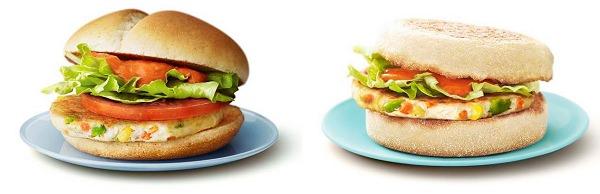 ↑ ベジタブルチキンバーガー(左)とベジタブルチキンマフィン(右)