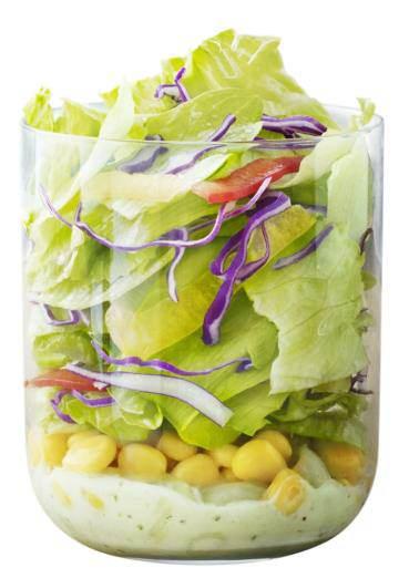 ↑ サイドサラダ バジルソース(実商品はプラスチックカップで提供)