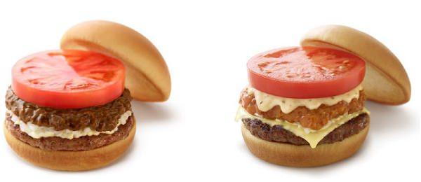 ↑ カレーモスバーガー(左)とリッチモスチーズバーガー ゴルゴンゾーラチーズソース(右)