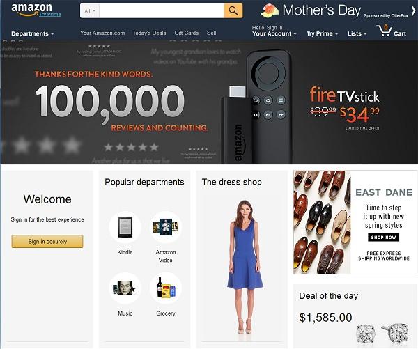 ↑ アマゾンドットコムのトップ画面。「Fire TV Stickに10万件ものコメントありがとう」と記されている