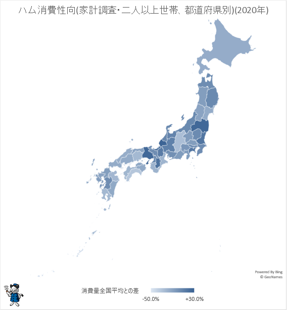 ↑ ハム消費性向(家計調査・二人以上世帯、都道府県別)(2020年)