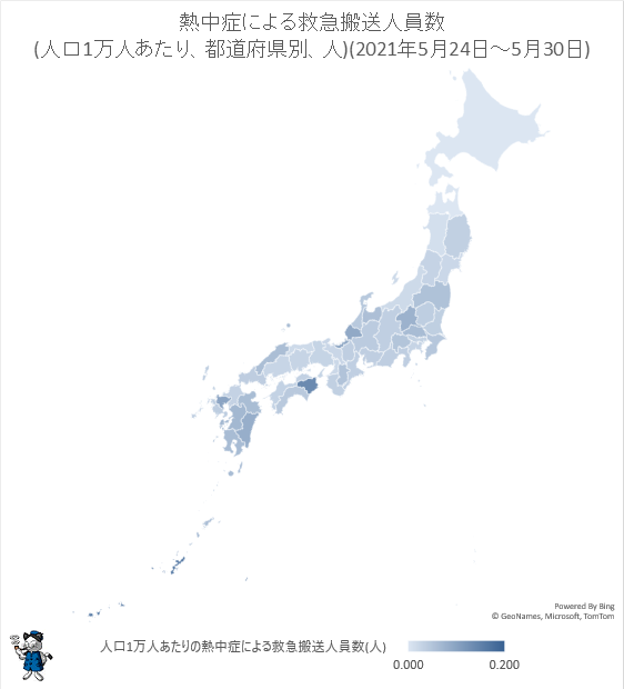 ↑ 熱中症による救急搬送人員数(人口1万人あたり、都道府県別、人)(2021年5月24日-5月30日)